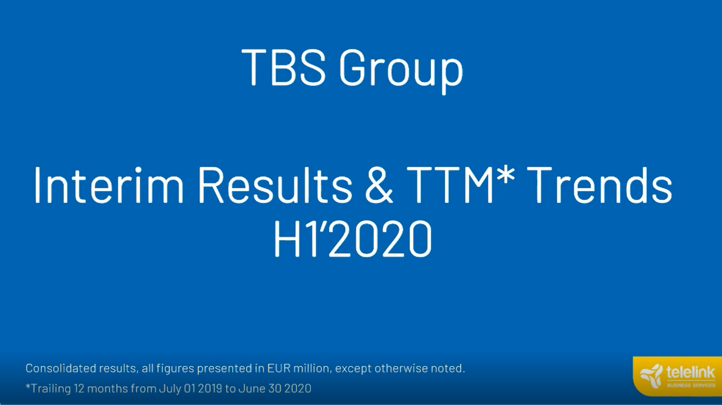 Digital Event | TBS Group: H1 FY2020 Financials Overview and Investor Q&A